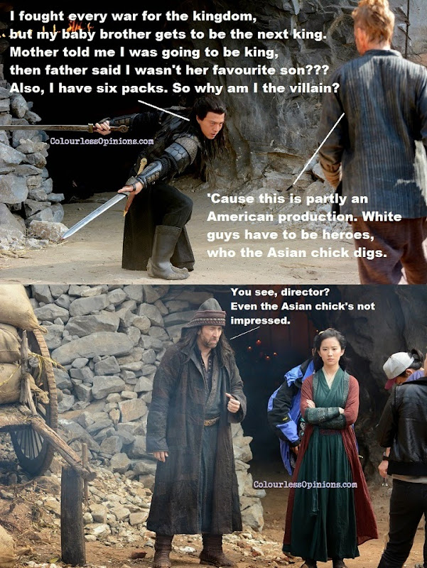 Andy On, Nicholas Cage and Crystal Liu Yifei in Outcast 2014 movie still meme