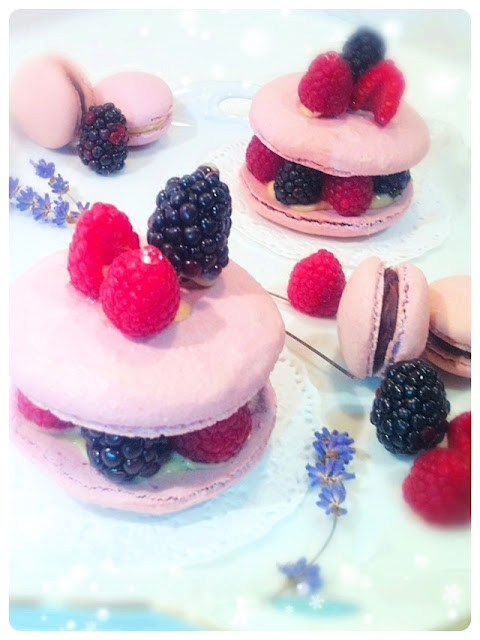 Cherie Kelly's Vanilla Macarons with Blackberries and Raspberries