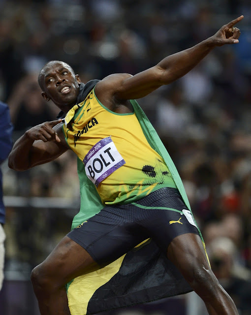 Usain Bolt after winning 100m at Olympics 2012