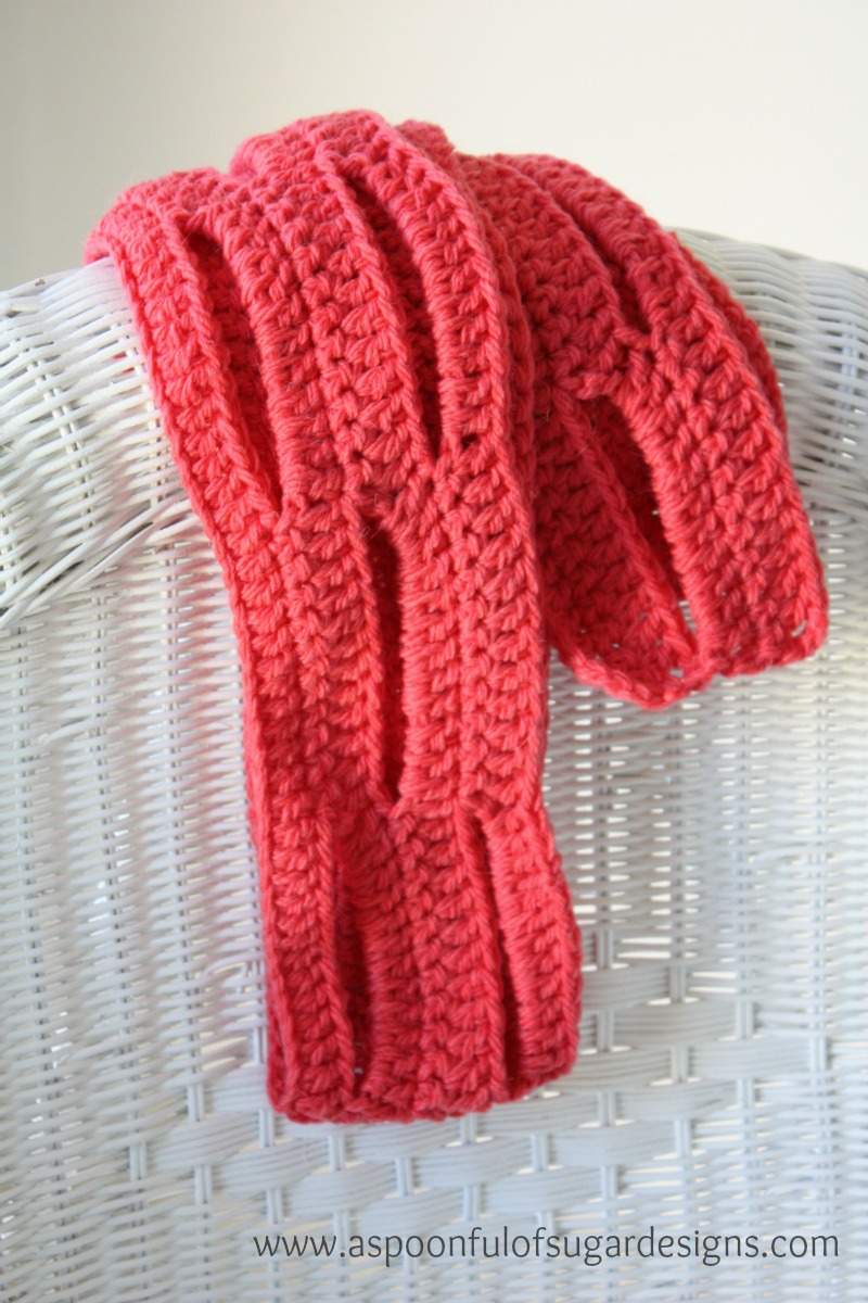 Easy crochet scarf free pattern a spoonful of sugar row 7 repeat row 3 fasten off bankloansurffo Images