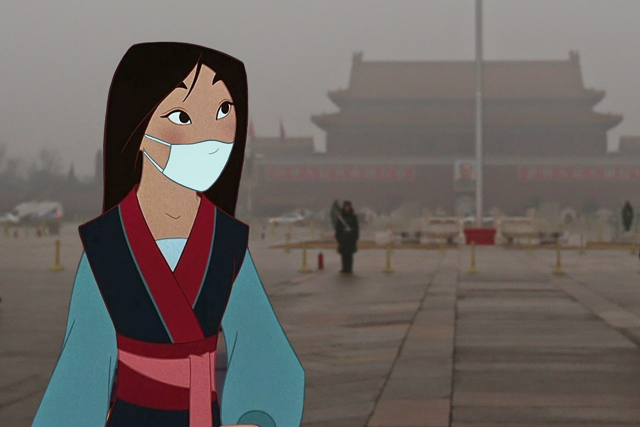 Mulan on a background of air polluted Beijing