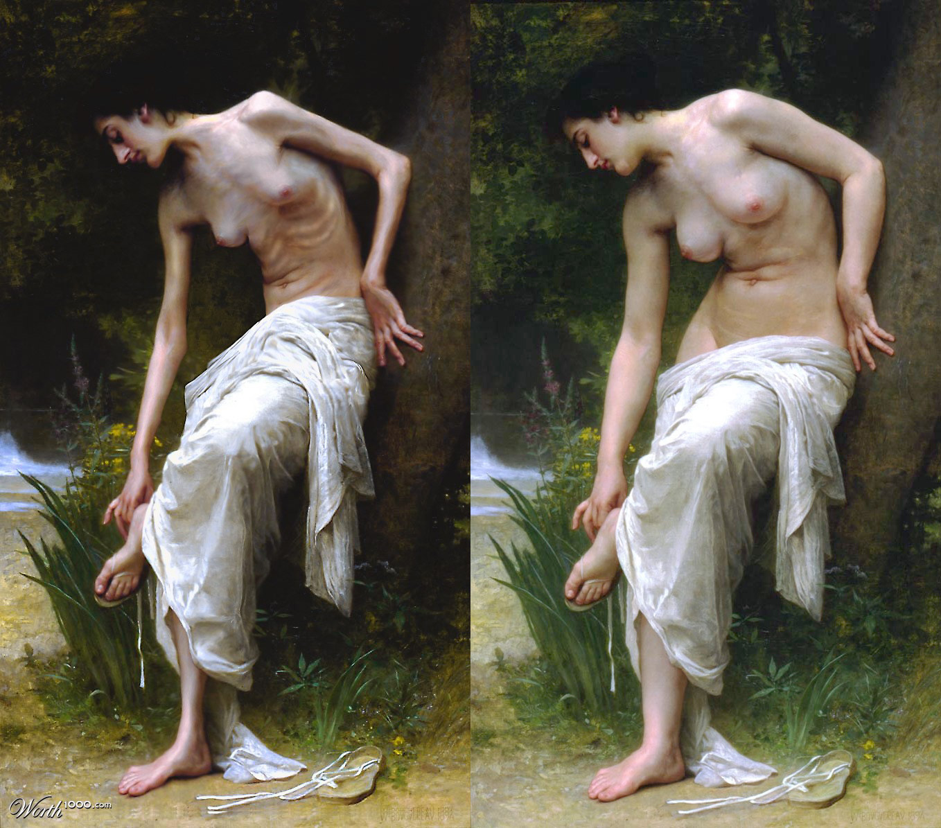 Anorexic Nude / Apres le bain by William Bouguereau / Mandrak