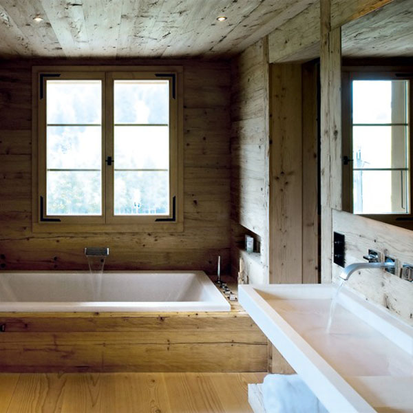 baños naturales -estilo rustico madera natural
