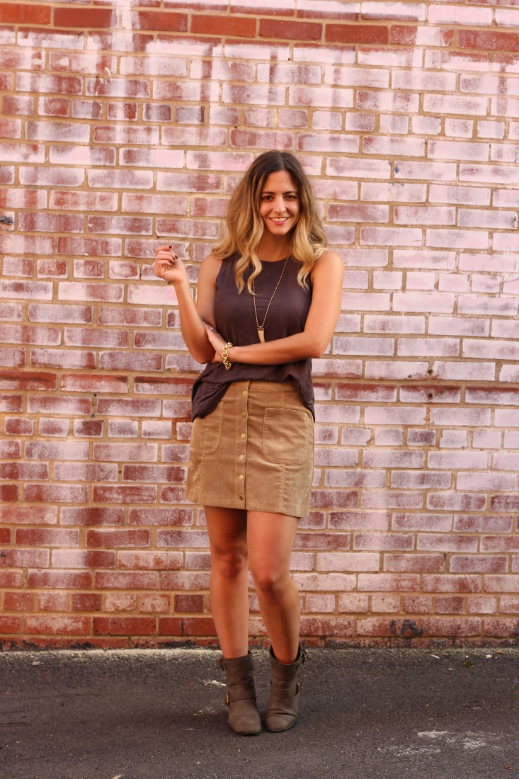 suede tank top with button miniskirt