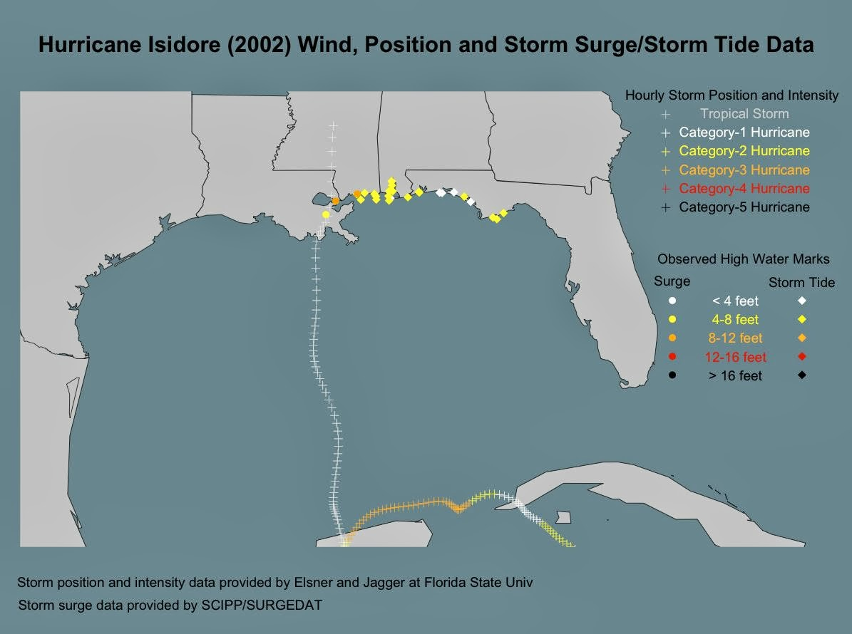 Hurricane Hals Storm Surge Blog Surge Maps From Tropical Storms - Us gulf coast map