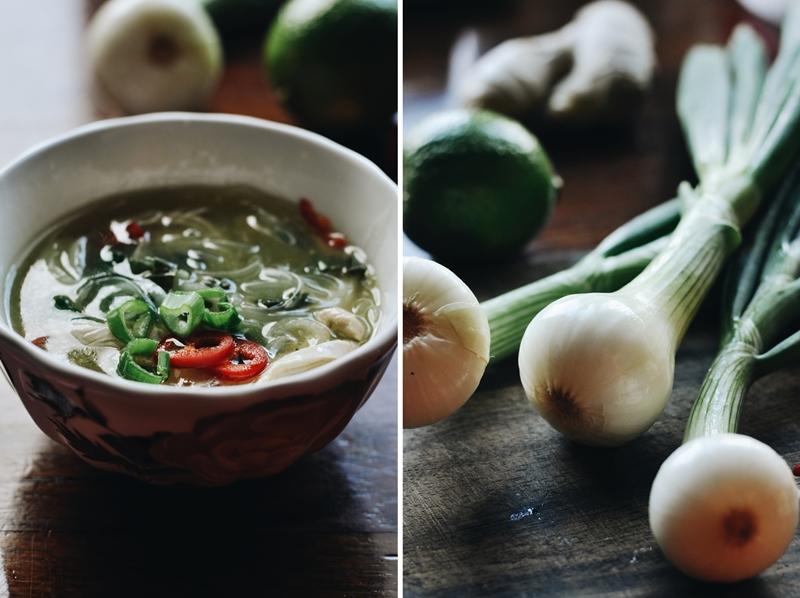 āzijas garšu iedvesmota loku, ķiploku, stikla nūdeļu zupa // green onion, garlic, glass noodle asian inspired soup