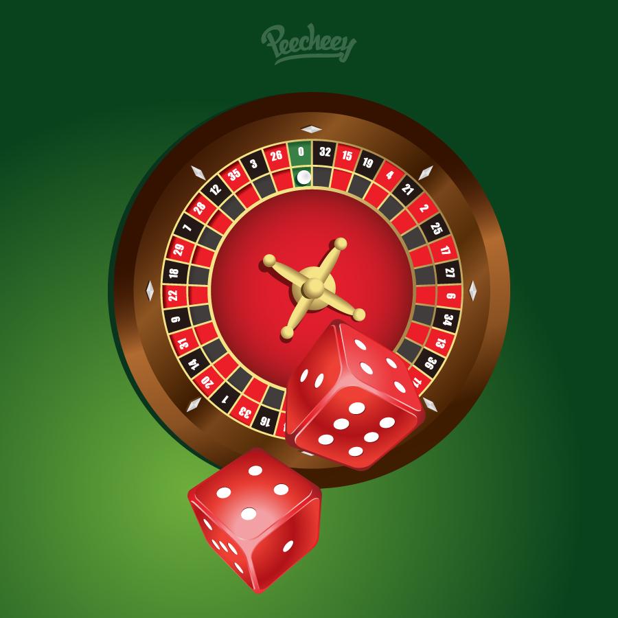 ルーレット台とサイコロのクリップアート Roulette illustration イラスト素材