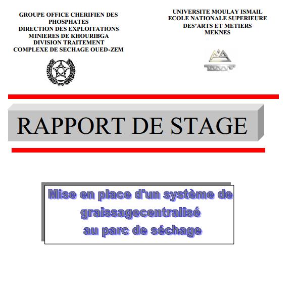 rapport de stage conception d u2019un circuit de graissage centralis u00e9