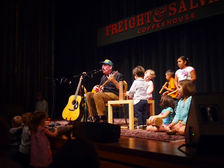 Stephen performing a family concert at the Freight and Salvage in Berkeley, California