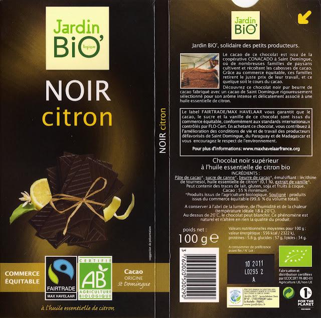 tablette de chocolat noir gourmand jardin bio noir citron