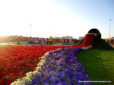 bucket of flowers at Miracle Garden