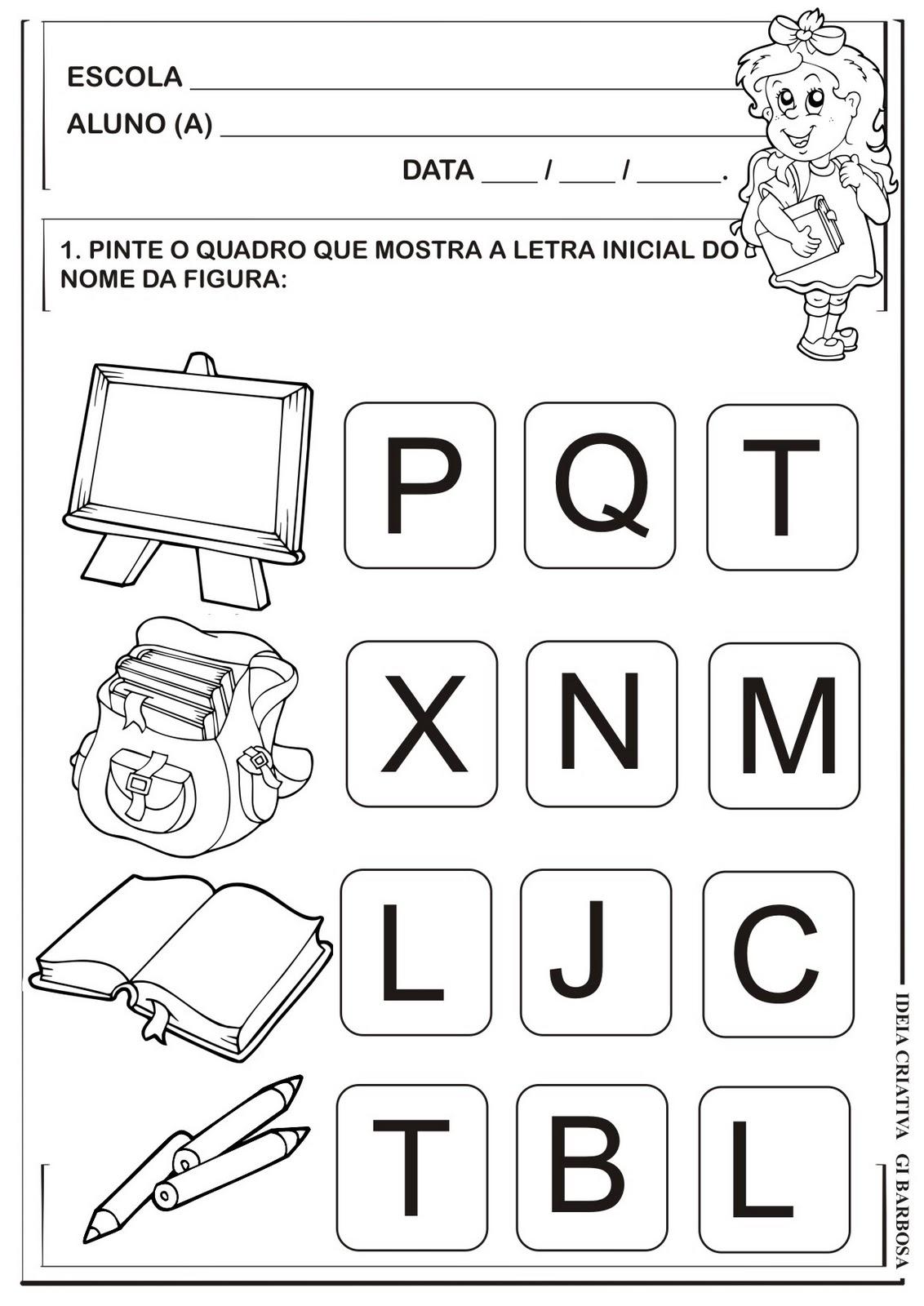 Conhecido Atividade Educação Infantil Letra Inicial Volta ás Aulas | Ideia  TR57