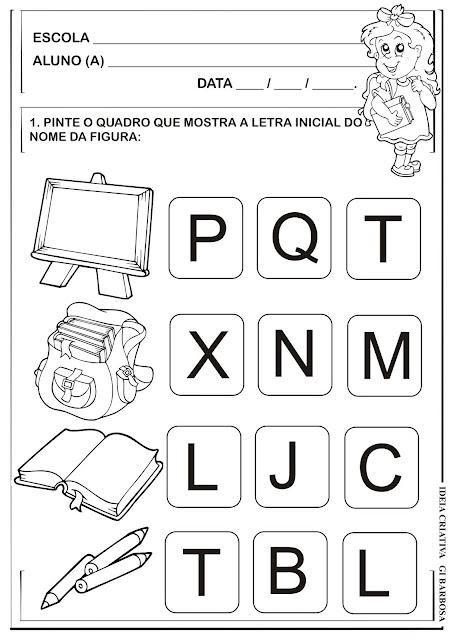 Atividade Educação Infantil Letra Inicial Volta ás Aulas