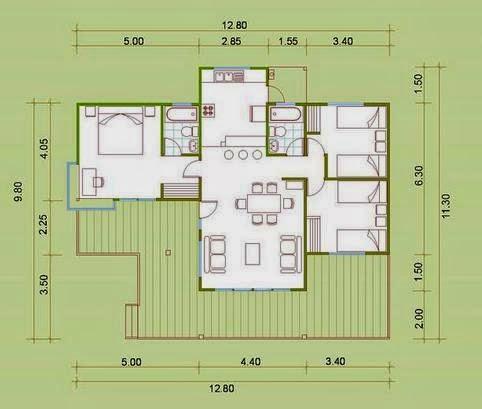 Planos de casas plano de casa habitacion for Plano casa habitacion