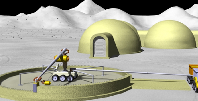 An artist's rendition of what building a structure using on-site regolith and additive manufacturing might look like. This is a technology under development for use in deep space exploration. Credits: NASA