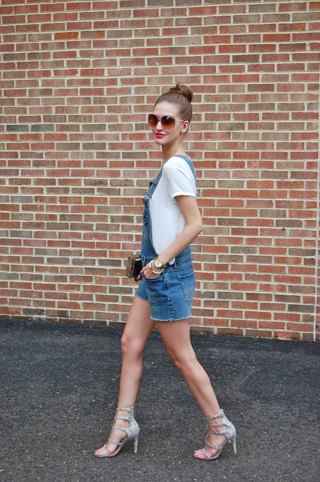 Wearing Target Mossimo denim overall shorts, Bcbgeneration Manci gladiator heels, Bcbg Maxazria Lucite clutch, casual overall look