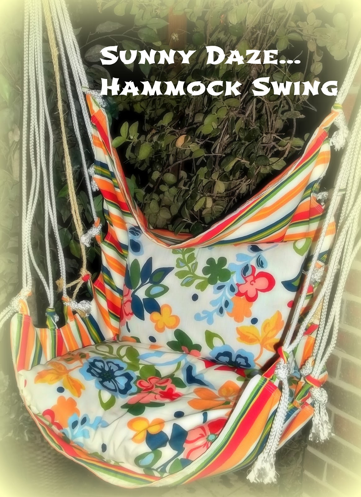 Hammock swing tutorial so you think you 39 re crafty for Fabric hammock chair