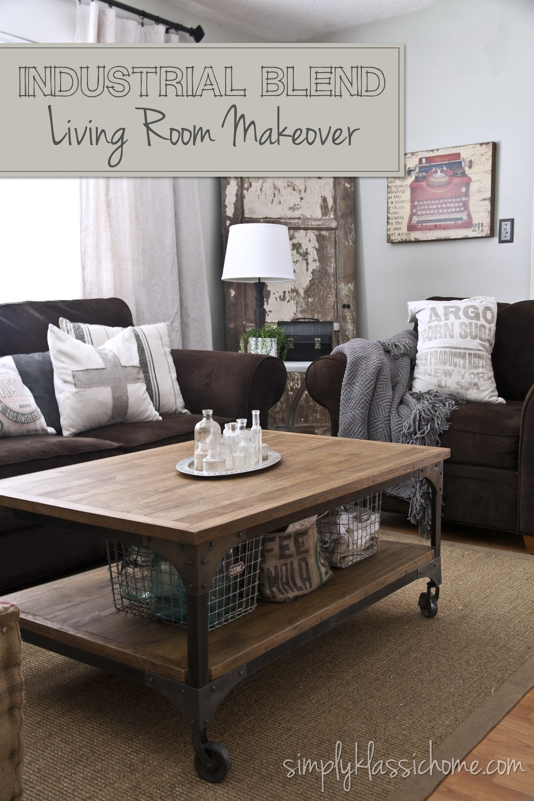 Industrial blend living room makeover reveal yellow for Brown couch living room