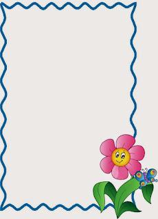 Caratula para cuadernos de niñas de kinder - Borde azul con flor