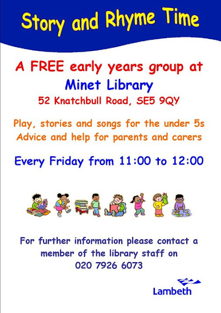 Story and rhyme time flyer on vassallview.com