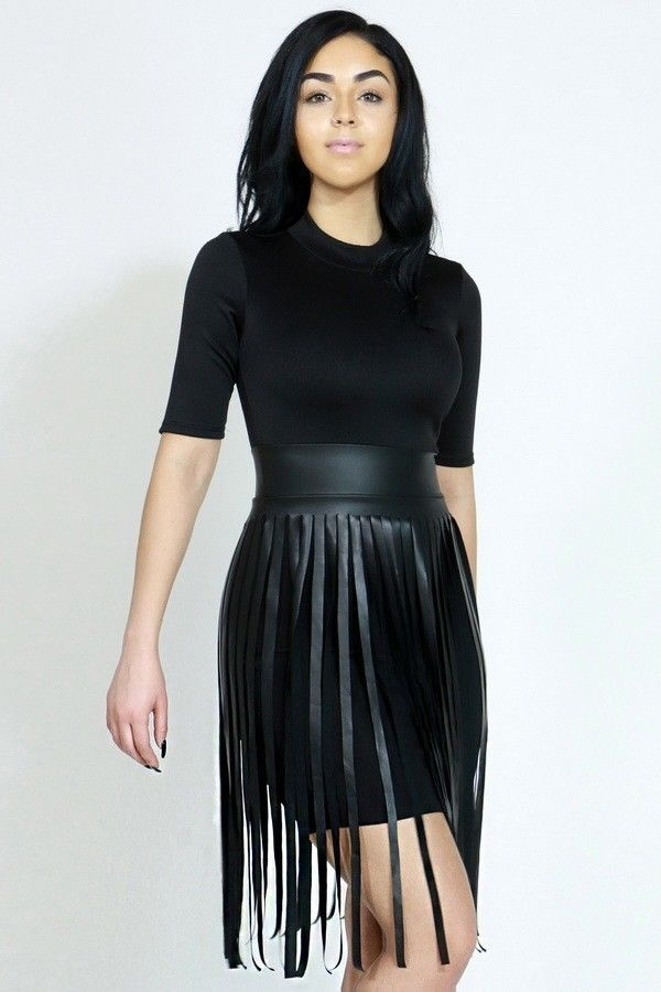 Women 3/4 Sleeve FAUX LEATHER SHREDDED FRINGE SKIRT BODYCON MINI ...