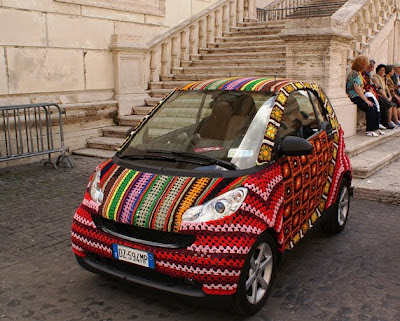 yarn bombing smart car yarn bombed