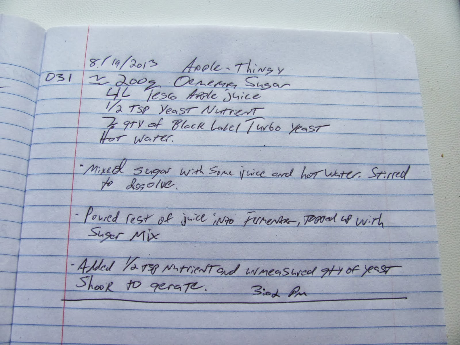 Page of brewing log book with the details of the cider batch
