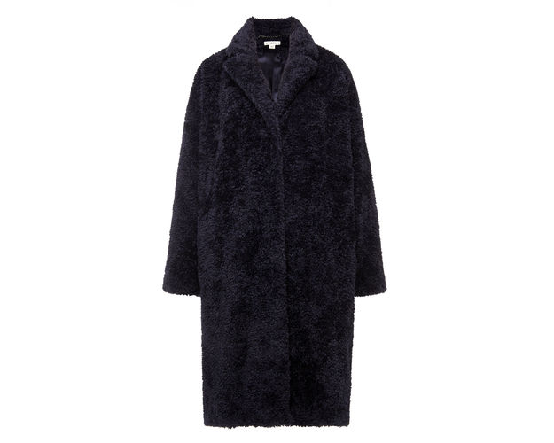 navy furry coat, whistles navy coat, navy teddy coat