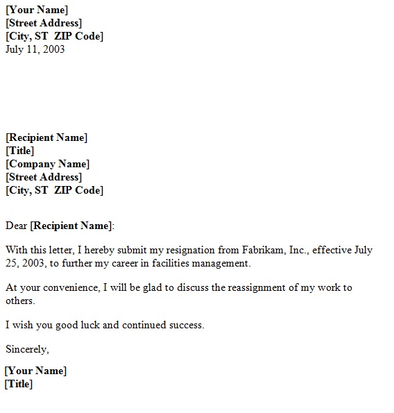 Sample Official Resignation Letters