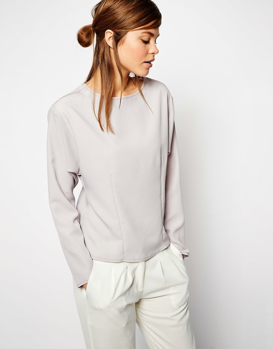 grey satin long sleeved top