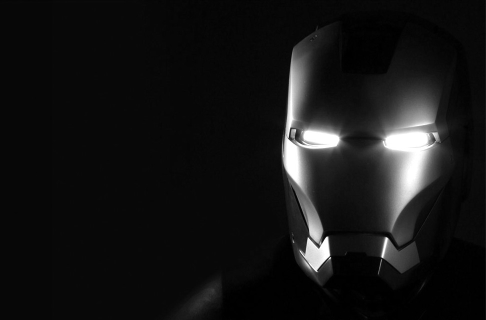 Iron Man 3 mask black and white Photo