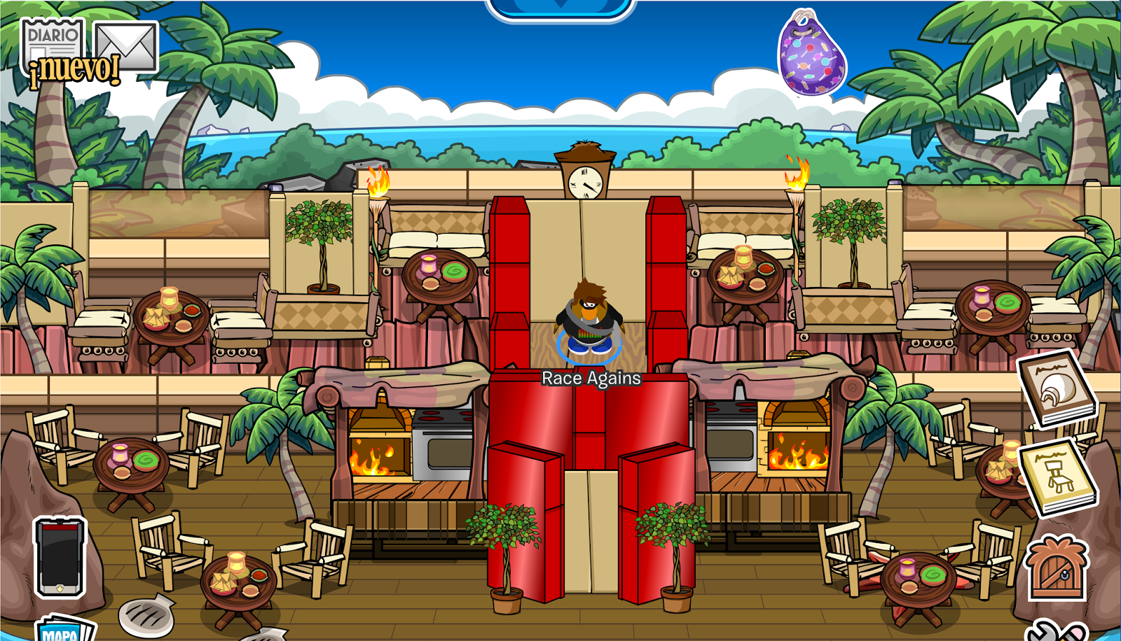 club penguin igloo ideas: tropical restaurant & hotel
