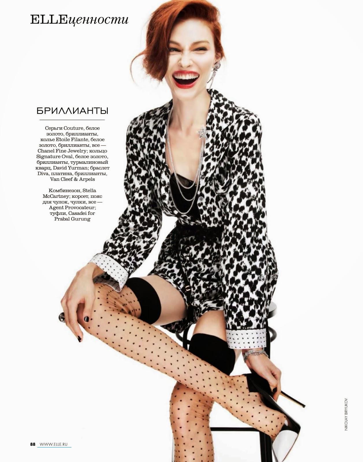 Magazine Photoshoot : Lera Tribel Photoshot For Nikolay Biryukov Elle Magazine Russia February 2014 Issue