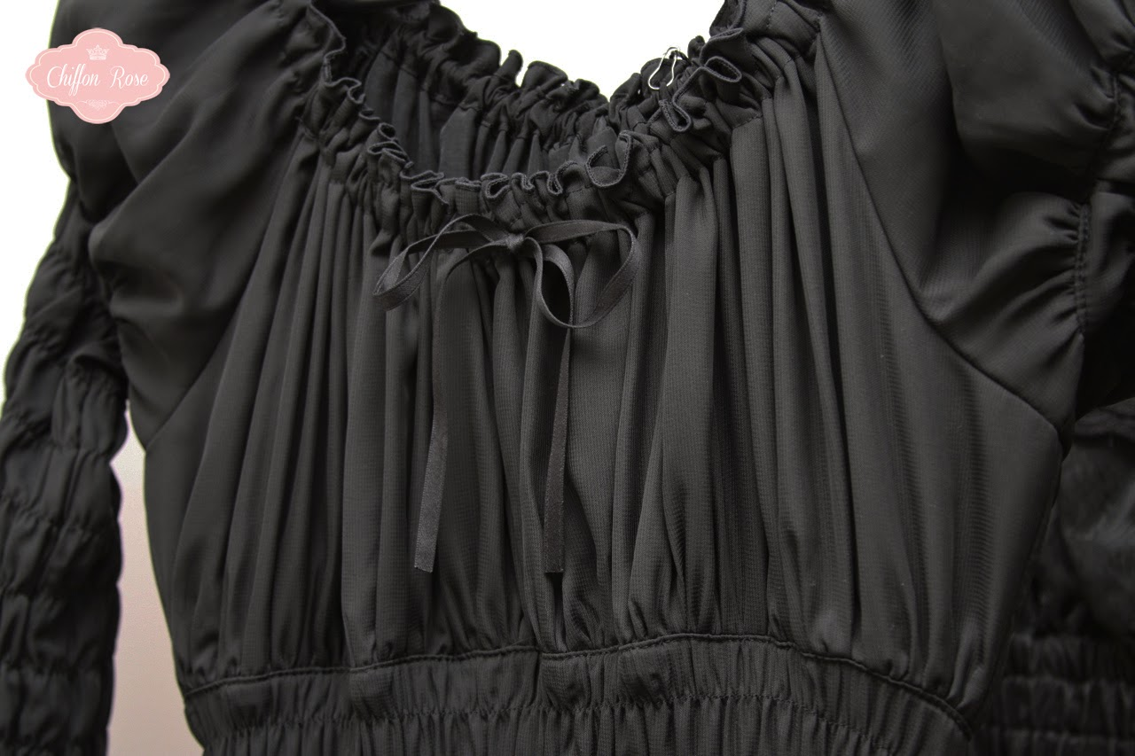 sheglit gothic lolita fashion chiffon rose shop kawaii tokyo japanese fashion clothing lace chiffon polyester tailored kodona ouji black dark fully shirred lolita clothing