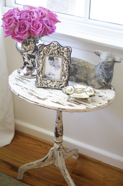 Baby silver collection, angel frame, lamb, rattle, side table; Nursery in the Nest; Nora's Nest