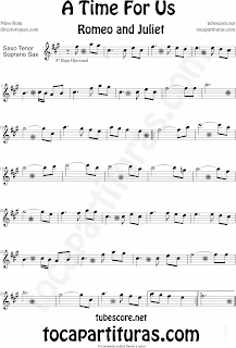 A Time For Us Sheet Music for Alto Saxophone and Baritono Sax in Eb Romeo and Juliet Partitura de Saxofón Alto y Saxofón Barítono en Mi bemol BSO