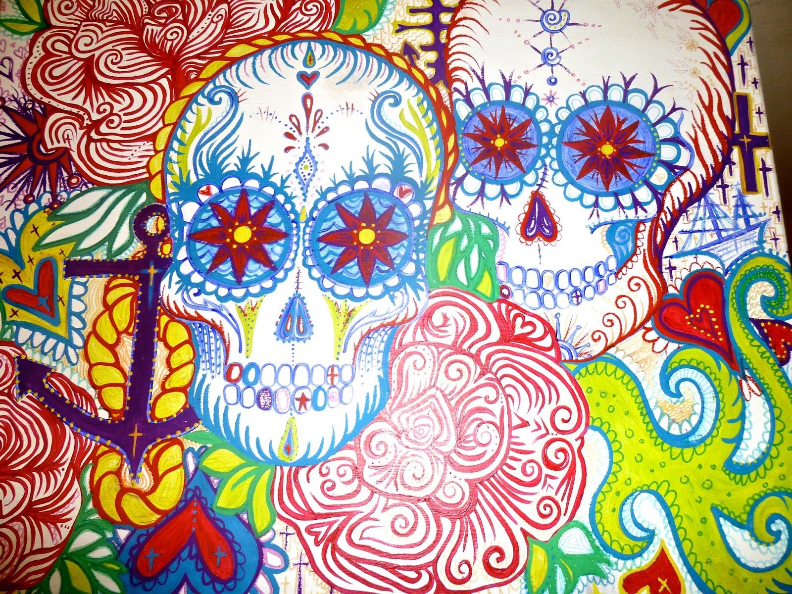 Hand Painted Sugar Skull Furniture