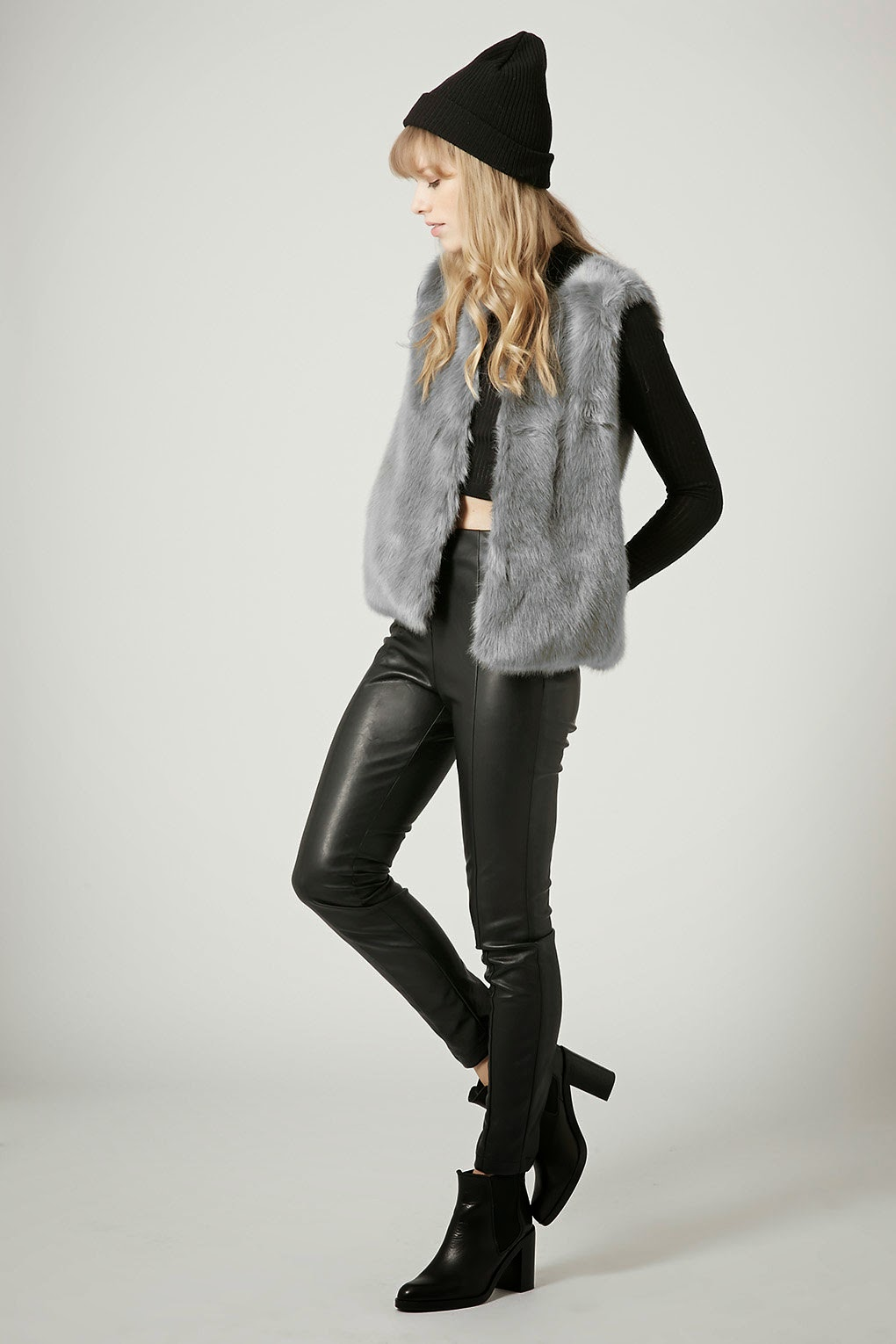 grey faux fur gilet, grey fur gilet,