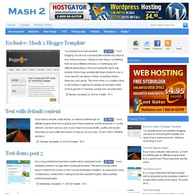 Mash 2 WordPress converted blogger template