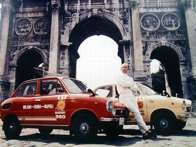 Stirling Moss, suzuki fronte 360, włochy, reklama, prezentacja, autostrada, japońskie samochody, kei car