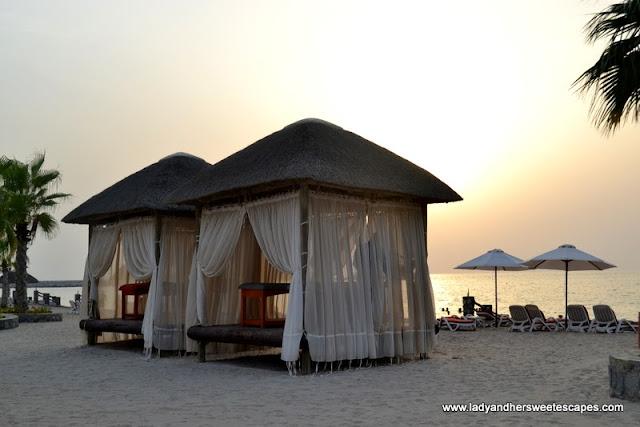 Cabana by the beach at The Cove Rotana