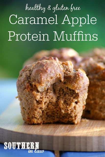 Sugar Free Caramel Apple Protein Muffins Recipe  low fat, gluten free, healthy, high protein, refined sugar free, clean eating friendly, protein powder recipes