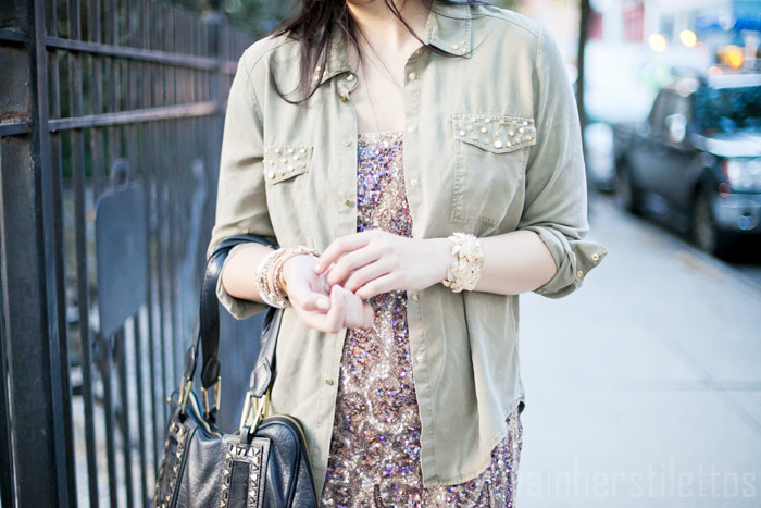 beaded zara flapper dress, military studded button up shirt zara, mango nude cut out pumps, day to night dressing, diya liu