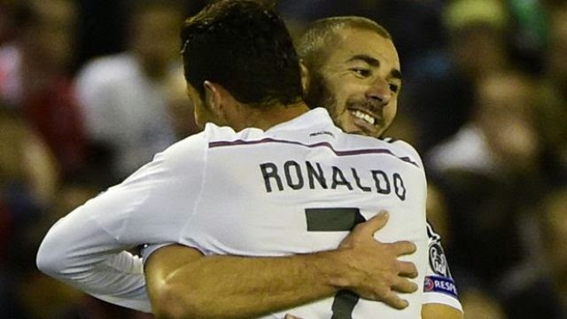 بنزيمة ورنالدو هدافي مباراة ريال مدريد وليفربول