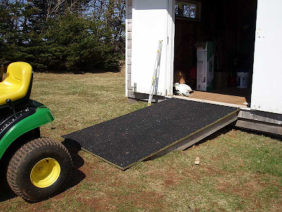 The new ramp for the tractor shed now has a non-slip surface thanks to some leftover materials from the gazebo.