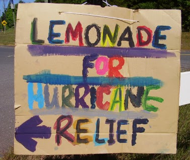 Sign for lemonade for hurricane relief