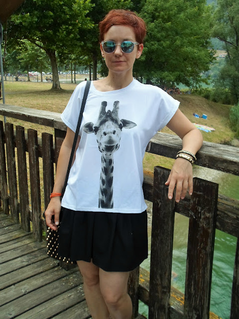 Giraffe Print Tee, Black Skater Skirt, Studded Bag & Mirror Sunglasses for a trip to Lago d'Idro || Funky Jungle, fashion & personal style blog
