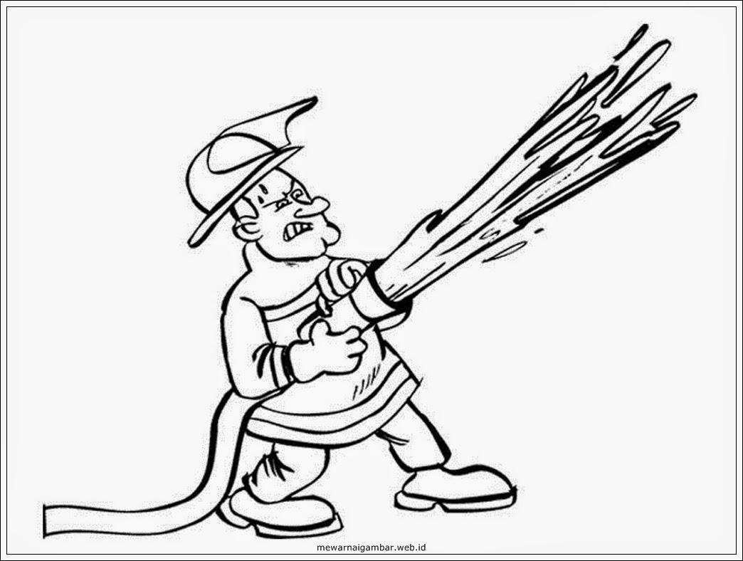 mewarnai gambar profesi pemadam kebakaran