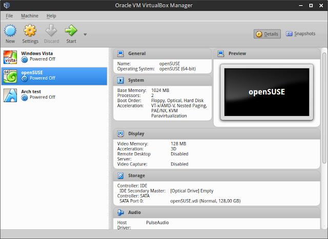 VirtualBox main window screenshot