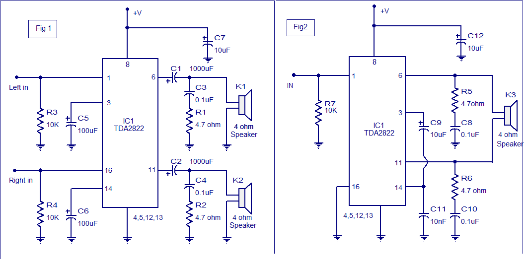 Stereo%2BAudio%2BAmplifier%2Busing%2BTDA%2B2822  Channel Amplifier Wiring Diagram Speakers on